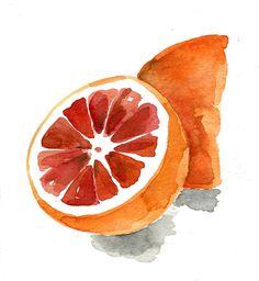 Blood orange no.2 print of  original watercolor by TheJoyofColor