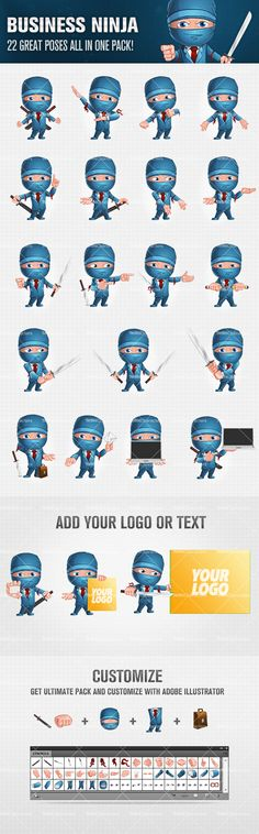 Business Ninja Cartoon Character Set