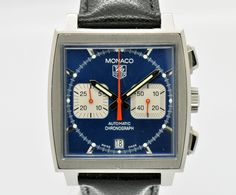 Auth TAG Heuer Monaco Chronograph CW2113-0 SS Auto Men's Watch #1793