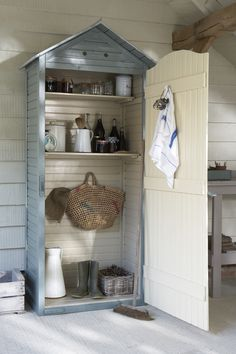 Make your potting shed pretty with Cuprinol Garden Shades in Wild Thyme and Country Cream