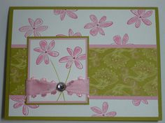 PRETTY IN RASPBERRY handmade Stampin Up blank greeting card. Just a picture.
