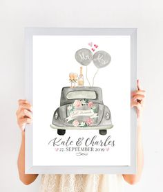 Wedding Posters, Wedding Prints, Just Married Auto, Baby Print, Personalized Wedding Gifts, Playing Cards, Christmas, Etsy, Original Version