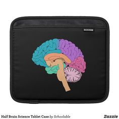 Shop Half Brain Science Tablet Case created by Schoolable. Back To College, Back To School, Graduation Presents, Brain Science, Science Gifts, Nerd Gifts, Personalised Blankets, Ipad Sleeve, Beginning Of School