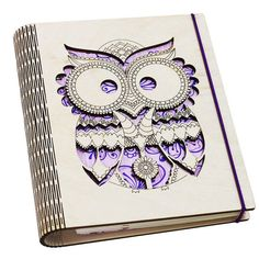 Unique Owl wooden notebook The hardcover made of birch plywood. So, it is really hard and durable. This sketchbook has a mechanism for sheets
