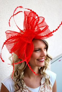 257346c93fe Red Fascinator Tea Party Hat Church Hat Kentucky by QueenSugarBee Christmas  Headbands