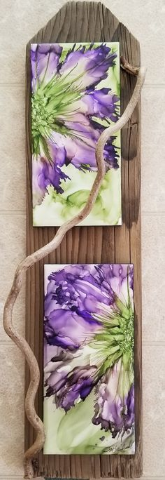 8x4 ceramic tiles with side flowers in beautiful amethyst and meadow alcohol ink on distressed wood with corkscrew twig by Tina