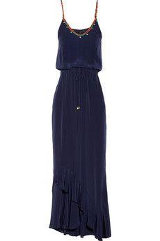 VixKalahari navy blue embroidered silk crepe de chine maxi dress.