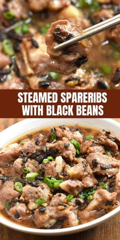 Steamed Spareribs with Black Beans are your favorite dim sum made quick and easy right in your own home! With juicy pork ribs and flavorful sauce, they're perfect with rice. Steamed Spareribs with Black Beans Deane Hata deanehata Bacon, Pork, Ham, Pork Rib Recipes, Asian Recipes, Healthy Recipes, Smoker Recipes, Chinese Recipes, Chinese Meals, Easy Recipes, Healthy Food, Asian Pork