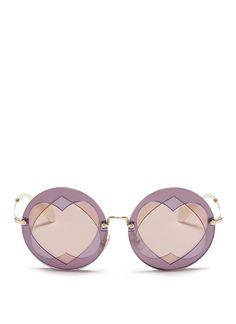 MIU MIU Cutout Heart Window Round Sunglasses. #miumiu #sunglasses