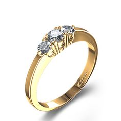 Contemporary Three-Stone Engagement Ring in 18k Yellow Gold