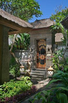 """""""Kori"""" is balinese name for a gate or entrance House Front Door, House Front Design, Entrance Gates, House Entrance, Bali Style Home, Bali Architecture, Balinese Garden, Tropical Garden Design, Villa"""