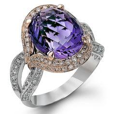Diamond Ring, .54 Carat Diamonds 6.53 Carat Amethyst on 14K Rose & White Gold