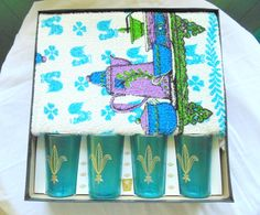 Kitchen Towel GIFT SET with 4 plastic Tumblers Drinking Glasses still in box unused vintage 1960s deadstock by OurVintageHouse on Etsy