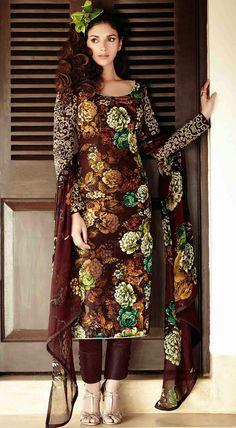 USD 46.24 Aditi Rao Hydari Brown Lawn Cotton Pakistani Suit 44733