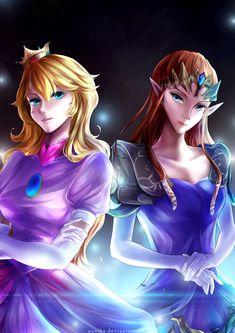 Zelda and Peach crossover [+Speedpaint] by yuuike.deviantart.com on @DeviantArt