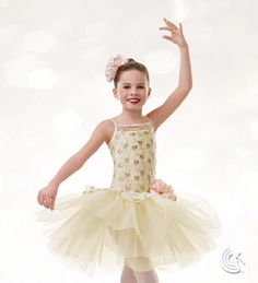 Curtain Call Costumes® - Soft Melody Ballet dance costume with gold metallic embroidery and statement flower trim. Available in two colors.