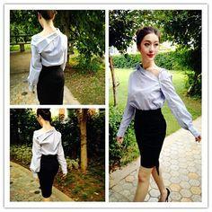 mulheres camisa listra preto e branco que caracteriza comprimento por QandAfashion