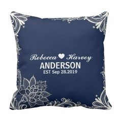 elegant nautical beach white lace navy blue throw pillow - elegant wedding gifts diy accessories ideas