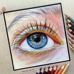 Art Drawings Sketches Simple, Colorful Drawings, Pencil Drawings, Eye Drawings, Human Drawing, Drawing Eyes, Eyes Artwork, Eye Sketch, Ipad Art