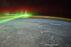 Wow! Northern Lights Glow in Breathtaking Image from Space Station. The bright, ethereal lights of the auroras. The surface of Earth, pockmarked with impact craters. A faint glow emanating from the planet's upper atmosphere. All of these amazing sights were captured in a single nighttime photograph taken by an astronaut aboard the International Space Station.  The photo was originally taken in February 2012, and included a glimpse of the space station, but NASA's Earth Observatory recently…