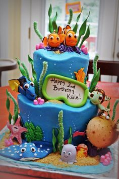 Does your child want a Finding Dory Birthday Party this year? Check out these 40 Finding Dory Birthday Party Ideas that will wow your party guests. Dory Birthday Cake, 2nd Birthday, Birthday Ideas, Finding Nemo Cake, Cake Designs For Kids, Decoration Patisserie, Gateaux Cake, Disney Cakes, Party Ideas