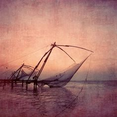 ARTFINDER: The Backwaters slow - last light catch by Nadia  Attura - Backwaters last light catch sunset reds and peach over the south Indian ocean  There are two versions of this Fine Art print available. The full color vers...