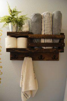 Bath towel shelf bathroom wood shelf towel by MadisonMadeDecor - Regal Selber Bauen Bathroom Shelves For Towels, Towel Shelf, Towel Rod, Bath Shelf, Bathroom Storage, Towel Rack Bathroom, Bath Towel Storage, Bath Towel Racks, Wooden Bathroom Shelves