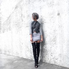 1/100 Reflective Top and Suede Thigh Highs on @thegreylayers #reflective #skirt #top #set #coord