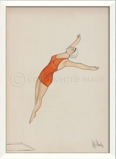 A hand-crafted white frame encompasses this coastal art print of an Orange Swimsuit Diver as she leaps from the high dive! Coastal Art, Coastal Style, Coastal Living, Coastal Homes, Frames On Wall, Framed Wall Art, Orange Swimsuit, Nautical Home, The Beach