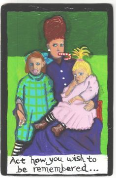 Remembered Family small US original outsider artist acrylic vintage painting  #Outsider