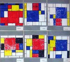 OB. Pieter Mondriaan. Deze les is bedoeld voor kleuters. Lees het boekje 'Nijntje in het museum' van Dick Bruna voor, of gebruik de Powerpointpresentatie op het smartboard. Nijntje kijkt in het museum ook naar een kunstwerk met lijnen en vlakken, zoals Mondriaan heeft gedaan. De kinderen kregen een vlakverdeling waarin ze, net als Mondriaan, met de kleuren zwart, geel, rood en blauw diverse vierhoeken mochten inkleuren. Er moesten er ook een paar wit blijven.