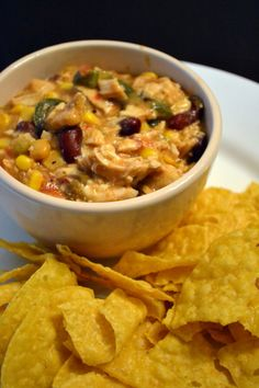 Mexican chicken in the crockpot- black beans/homemade salsa instead. Sour cream not soup