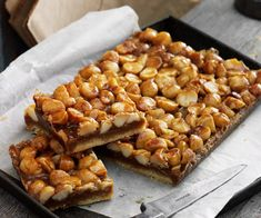 Caramel macadamia slice recipe - By Australian Table, This classic caramel slice with the crunch of macadamias is perfect with that morning or afternoon cuppa. Oat Slice, Lemon Slice, Caramel Recipes, Afternoon Snacks, Tray Bakes, Sweet Recipes, Cake Recipes, Dessert Recipes, Delish