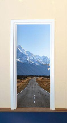 New Zealand Road Door Mural-Landscapes & Nature-Eazywallz Custom Wall Murals, Vinyl Doors, Door Murals, Painting Plastic, Door Stickers, High Walls, Types Of Doors, Parking, Staircase Design
