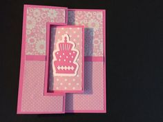 Pink Die Cut Happy Birthday Flip Card by LoveDebbiesDesigns