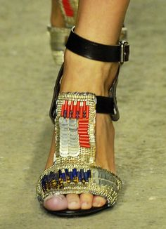 DRIES VAN NOTEN sandals. Stunning Arts & Crafts bead embellishment on these black heels. They are twins but not identical. Love this shoe.