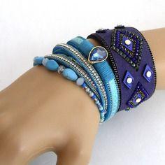 Bracelet-manchette à enrouler - bleu/marine/turquoise - perles, cuir, strass