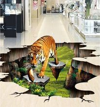beibehang Custom photo flooring mural self - adhesion wall sticker 3 d Tiger outdoors to draw painting wall room wallpaper 3d Floor Art, 3d Floor Painting, Floor Murals, Floor Decal, 3d Wall Murals, Floor Wallpaper, Painting Wallpaper, Photo Wallpaper, Adhesive Wallpaper