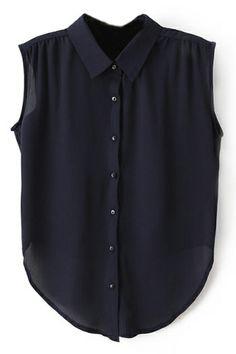 ROMWE   ROMWE Asymmetric Pleated Bowknot Navy Shirt, The Latest Street Fashion