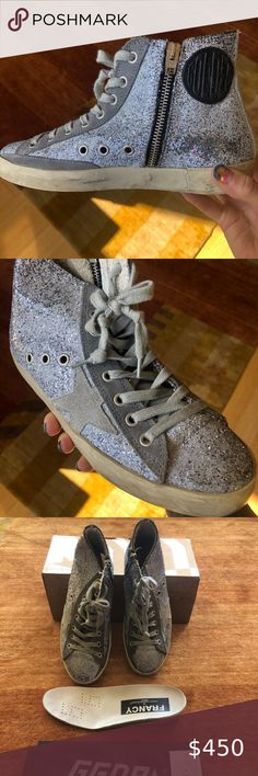 NIB! Golden Goose Gun Metal Glitter Francy, 36 Grab these NEW Golden Goose Gun Metal Glitter Francy's while you can. Size 36. Stunning mix of lavender and light grey glitter and goes with everything. Comes with original box and dust bag. Golden Goose Shoes Sneakers