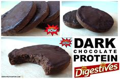 Dark+Chocolate+Protein+Digestives.  Macros per Serving (out of 12):  85kcals 10.9g carbos 5g protein 3.2g fat 3.3g fiber