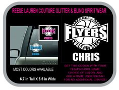 FLYERS BASKETBALL Decal - Personalize With Your School/Team Name, Your Name, and CHOICE of Colors for no additional charge by ReeseLaurenCouture on Etsy
