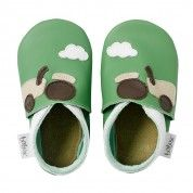 Green tractor Bobux infant shoes - love the tractors!