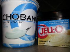 Healthy Cheesecake (2 servings) 1 cup Chobani plain Greek yogurt 2 Tablespoons Sugar Free, Fat Free Jello Cheesecake mix. 1/4 cup Almond milk