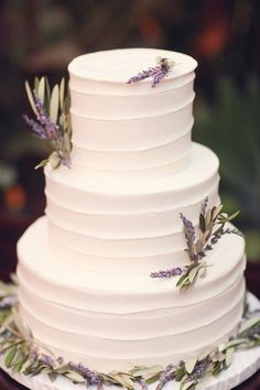 White Wedding Cake with Lavender