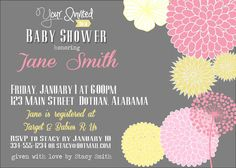 Girl Baby Shower Custom Digital Printable Invitation, Gray with Pink & Yellow Flowers. $8.95, via Etsy.