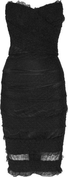 Dolce & Gabbana Black Textured Stretchlace Dress