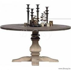 ll-xp160-X-Collection Ronde Tafel in Dennehout top in cement look 150 XP 160
