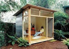 """Shed DIY - Edgar Blazons off-the-shelf """"prefab"""" project. This would work. Now You Can Build ANY Shed In A Weekend Even If You've Zero Woodworking Experience! Backyard Studio, Garden Studio, Backyard Retreat, Modern Backyard, Modern Gazebo, Backyard Cabin, Studio Shed, Tiny Studio, Modern Shed"""