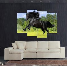 Modern Wall Home Decoration Printed Oil Painting High Quality 4 Piece No Frame Horse Art Painting Run about Wildly Black Horse Price: USD 149.9 | United States